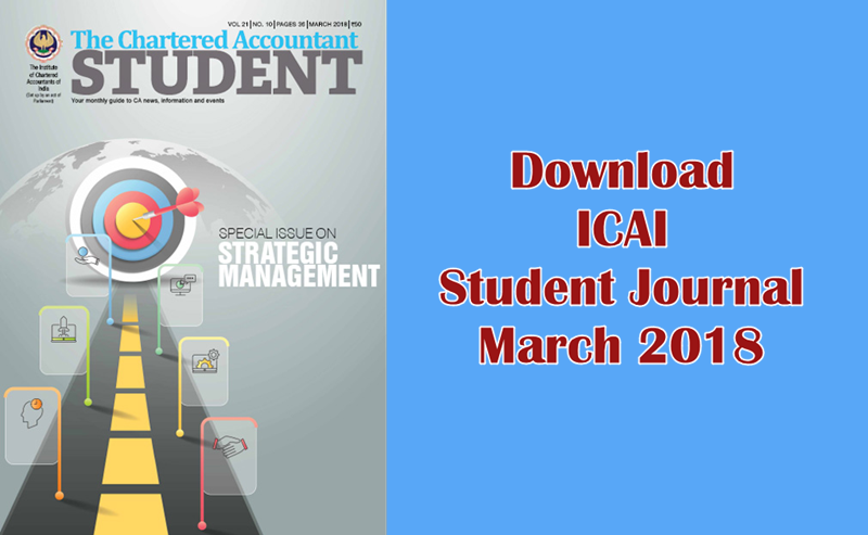 Download ICAI Student Journal March 2018 – For Latest CA News & Updates