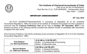 CA CPT Time Table