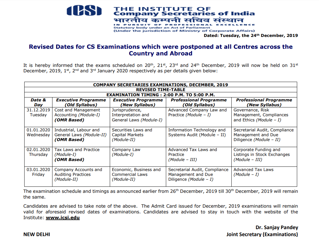 CS Exams new exam dates