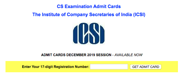 CS admit card download link
